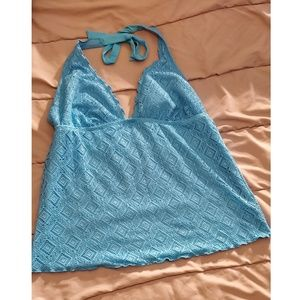 Turquoise Halter Tankini Top